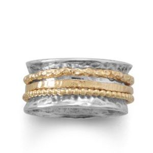 Jewelry - Hammered Two Tone Multi-Band Spin Ring